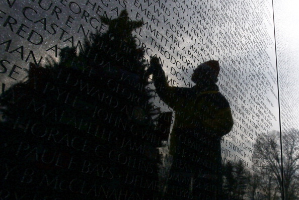 Christmas Tree And Menorah Placed At Vietnam Veterans Memorial